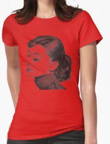 Audrey Hepburn Stippling Portrait Womens Fitted T-Shirt