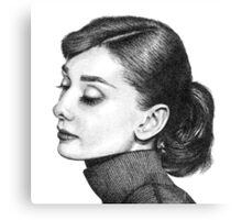 Audrey Hepburn Stippling Portrait Canvas Print