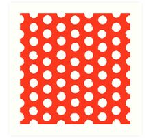 Classic red and white polka dots Art Print