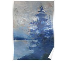 Blue Tree Painting the Sky Poster