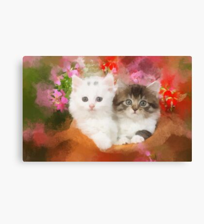 Kittens in a pot Canvas Print