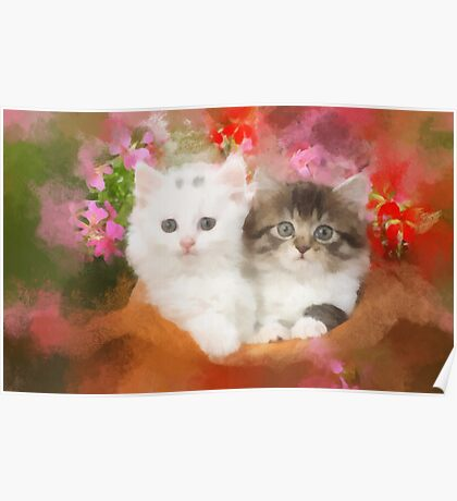 Kittens in a pot Poster
