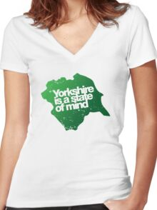 Yorkshire is a state of mind Women's Fitted V-Neck T-Shirt