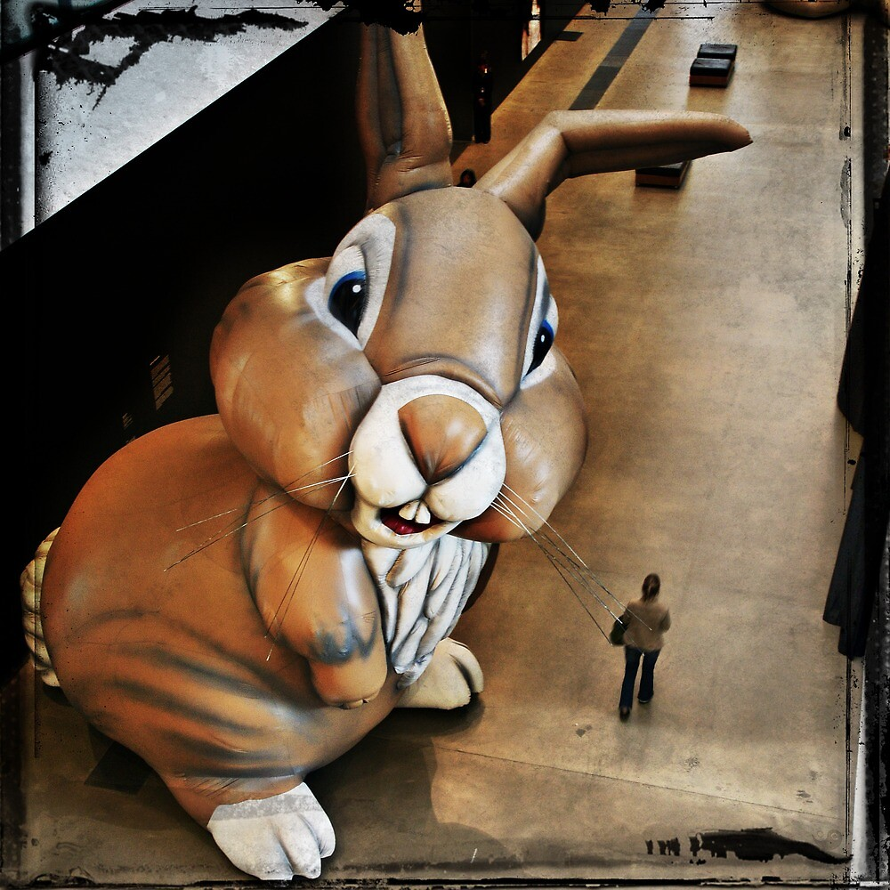 Out of the blue, she found herself wondering if Kierkegaard had mentioned giant bunny hallucinations in his analysis of existential anxiety and life's absurdity by Cedric Canard