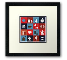 Household items on a colorful background Framed Print