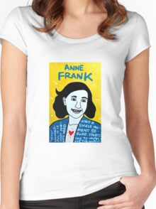 Anne Frank Pop Folk Art Women's Fitted Scoop T-Shirt