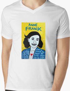 Anne Frank Pop Folk Art Mens V-Neck T-Shirt
