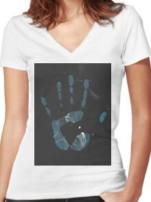 Hand Painting ~ Galaxy Women's Fitted V-Neck T-Shirt