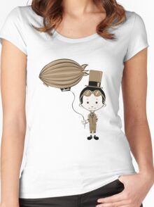 Little Inventor Flying His Airship Women's Fitted Scoop T-Shirt