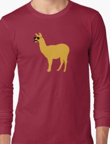 Funny llama with sunglasses and mustache Long Sleeve T-Shirt