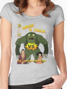 Hawk and Chick VS the Seaweed Monster Women's Fitted Scoop T-Shirt