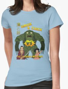 Hawk and Chick VS the Seaweed Monster Womens Fitted T-Shirt