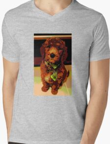 Posterised Pup Mens V-Neck T-Shirt