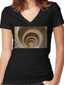 Staircase Women's Fitted V-Neck T-Shirt