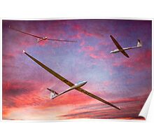 Three Gliders Over The Devil's Dyke At Sunset Poster