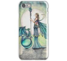 Aquamarine Dragon Fairy Dragon Art by Molly Harrison iPhone Case/Skin