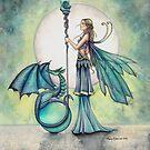 Aquamarine Dragon Fairy Dragon Art by Molly Harrison by Molly  Harrison