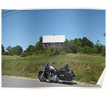 Motorcycle And Old Farmhouse Poster