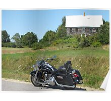 Motorcycle and Old House Poster