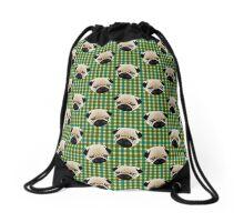Pugs on Blue and Green Plaid Drawstring Bag