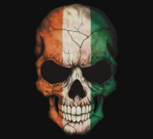 Ivory Coast Flag Skull Kids Tee