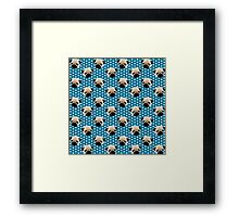 Pug Faces on Blue with White Hearts Framed Print
