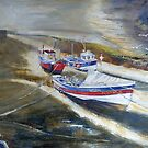 Looking Down From the Bridge, Staithes by Sue Nichol