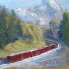 Swiss Mountain Train by Tash  Luedi Art