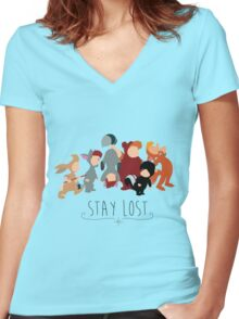 -Lost Boys Stay Lost Women's Fitted V-Neck T-Shirt