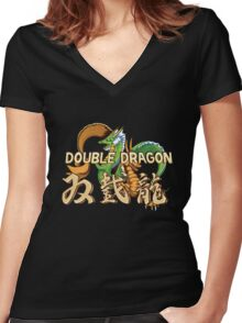 Double Dragon Women's Fitted V-Neck T-Shirt