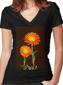 Floral duo Women's Fitted V-Neck T-Shirt