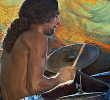 Drummer of Demode band. by Valentina Walker