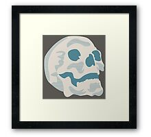 White and Blue Skull Framed Print