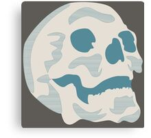 White and Blue Skull Canvas Print