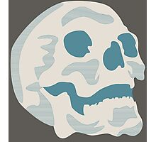 White and Blue Skull Photographic Print