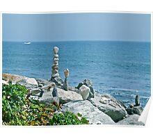 Rock Sculptures - Narragansett - Ocean Road - Rhode Island *featured Poster