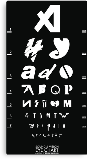Sound & Vision Eye Chart Poster Black by SevenHundred