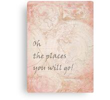 Pink World Map Inspirational Quote, back to school Canvas Print