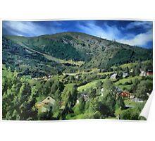 Mountain side village Poster