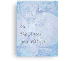 Blue World Map Inspirational Quote, back to school Canvas Print