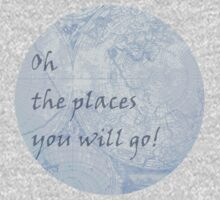 Blue World Map Inspirational Quote, back to school Kids Clothes