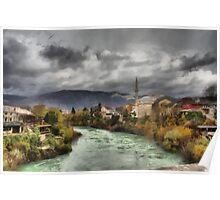 Quaint river town Poster