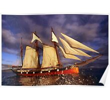 Ship heading for sea Poster