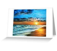 Shore view at sunset Greeting Card
