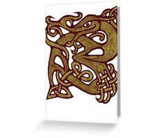 Celtic knotwork green dragon  Greeting Card