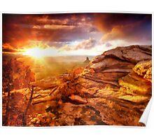 Sun eyeing the Rocks Poster