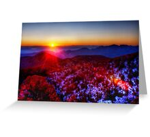 Suset over the hills Greeting Card