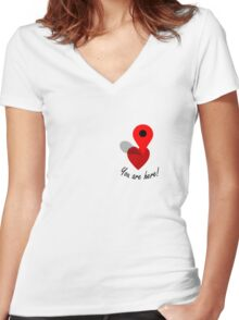 You Are Here! Women's Fitted V-Neck T-Shirt
