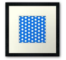 Classic blue and white polka dots Framed Print