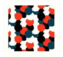Bold geometric pattern with randomly colored circles Art Print
